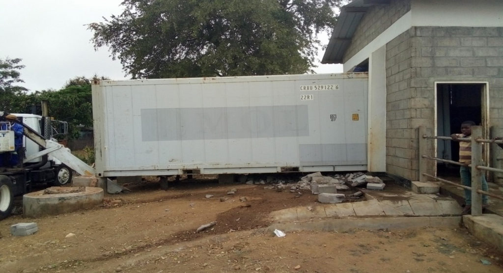 Installation of refrigerationcontainer at Phalula abattoir Photo: Temwa Mwula